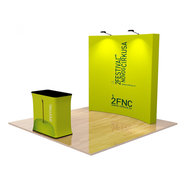8ft Curved Fabric Pop Up Display